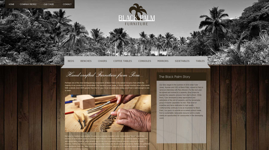 Black Palm Furniture Website Example